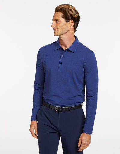 Solbari Sun Protection Men's UPF50+ Long Sleeve Polo in Navy Sensitive Collection