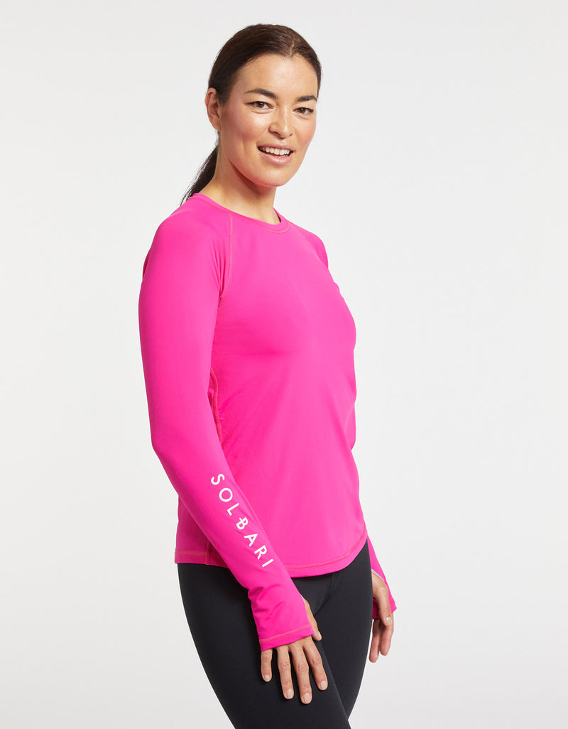 Solbari Sun Protection Women UPF50+ Rashguard in Fuchsia Aqua Sport Collection