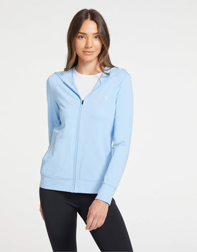 Solbari Sun Protection UPF50+ Women's Luxe Hooded Full Zip Top Sensitive Collection in Light Blue