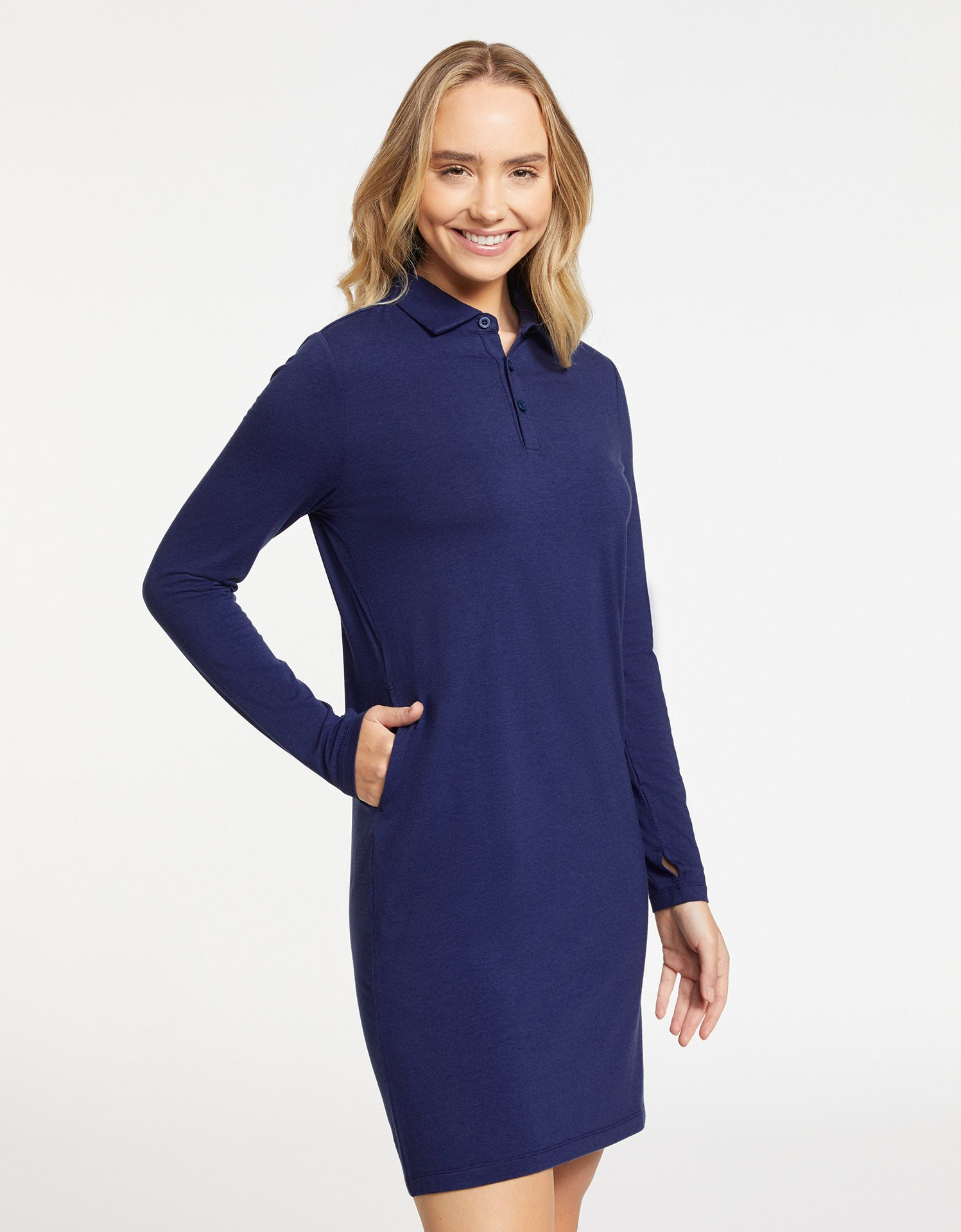 Solbari Sun Protection Women UPF50+ Long Sleeve Polo Dress in Navy Sensitive Collection