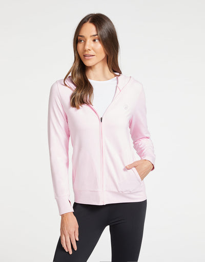 Solbari Sun Protection UPF50+ Women's Luxe Hooded Full Zip Top Sensitive Collection in Light Pink
