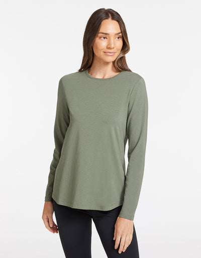 Solbari Sun Protection Women's UPF50+ Long Sleeve Swing Top in Eucalyptus Green