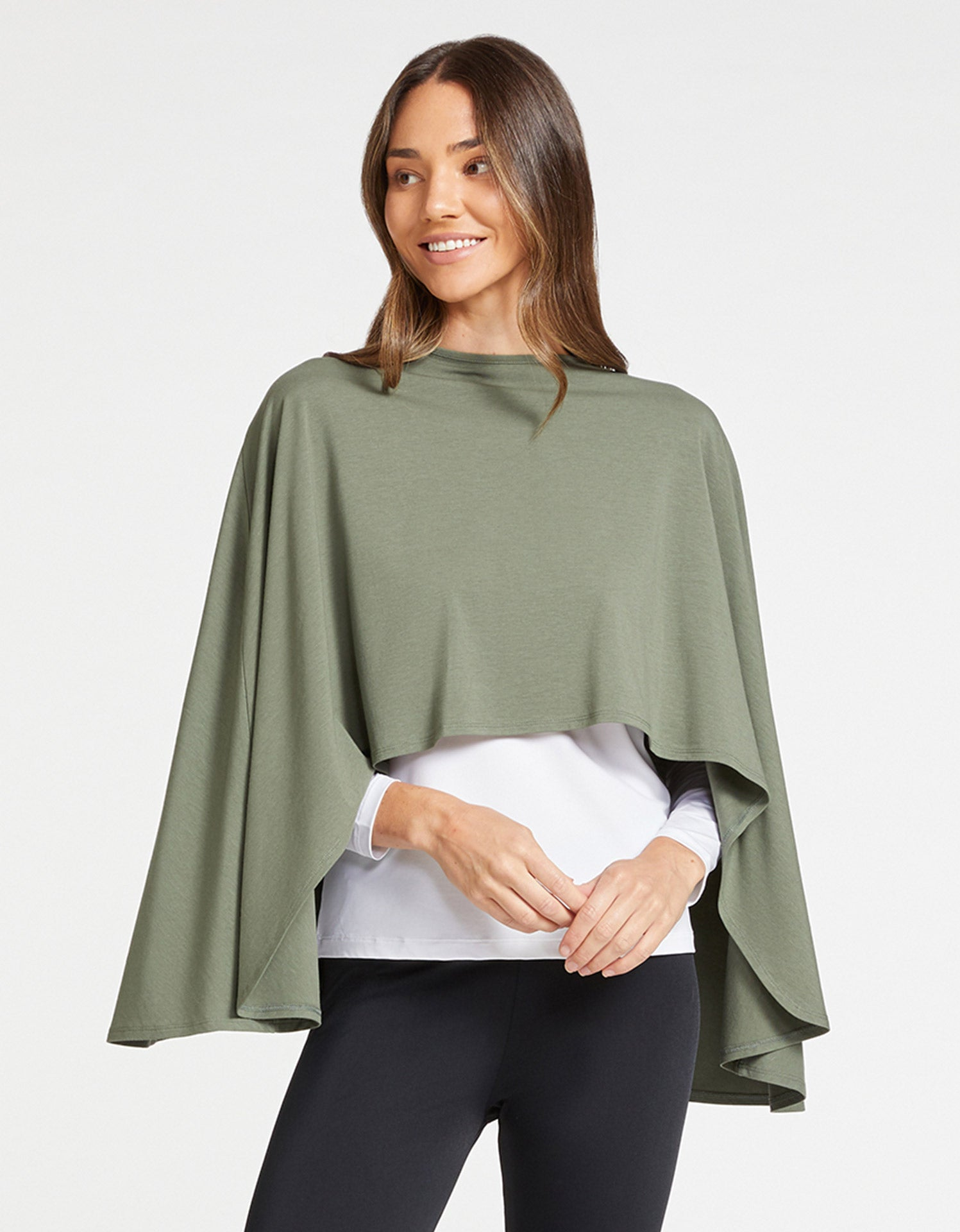 Solbari Sun Protection Women's UPF50+ Protective Shrug in Eucalyptus Green Sensitive Collection