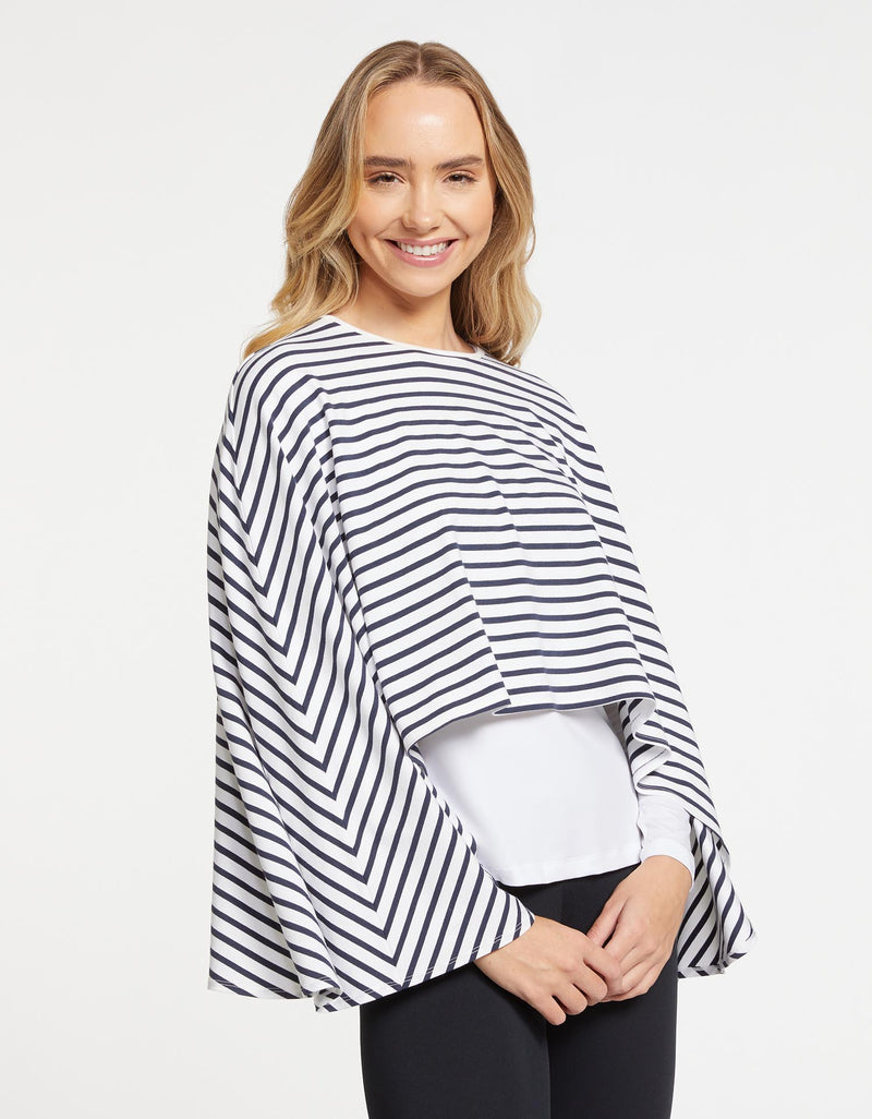 Solbari Sun Protection Women UPF50+ Shrug in Ivory and Navy Stripe Sensitive Collection