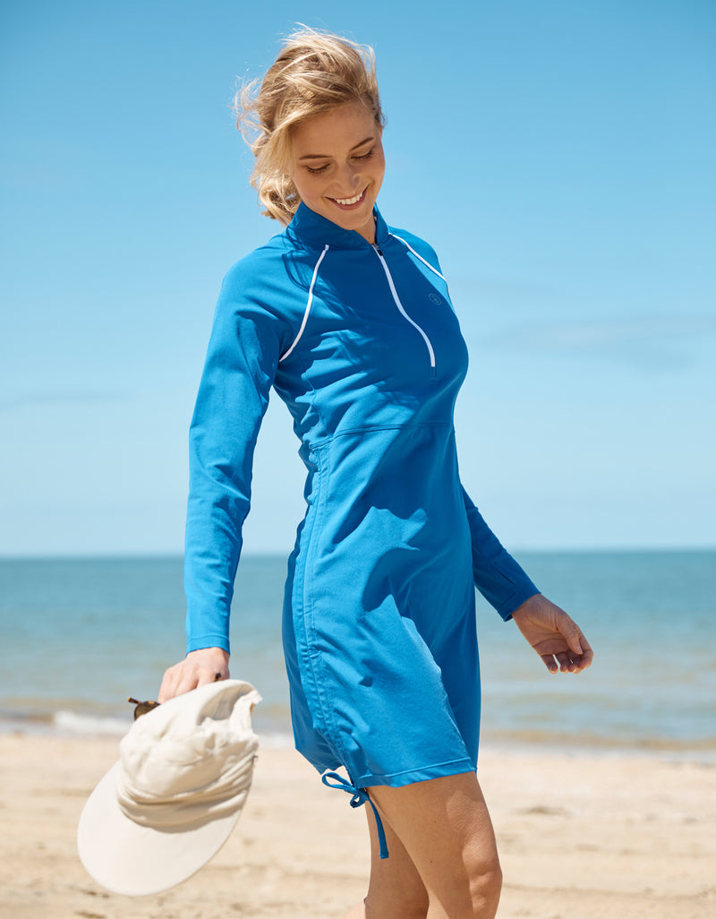 Solbari Sun Protection Clothing UPF50+ Full Protective Swim Resort Dress in Ocean Blue