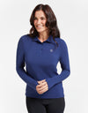 Solbari Sun Protection UPF50+ Women Long Sleeve Polo Shirt Sensitive Collection in Navy