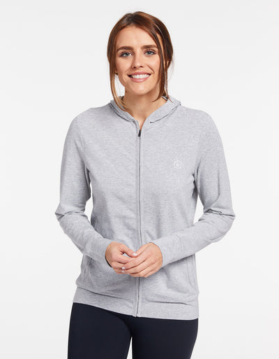 Solbari Sun Protection UPF50+ Women's Luxe Hooded Full Zip Top Sensitive Collection in Light Grey Marle