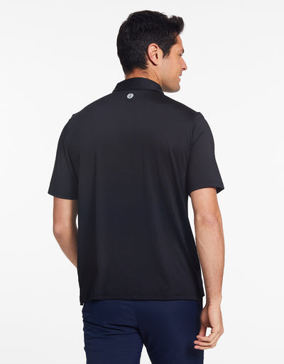 Solbari Sun Protection Men's UPF50+ Active Short Sleeve Polo in Black