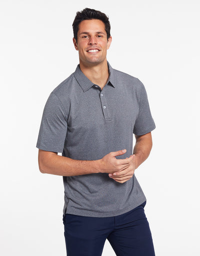 Solbari Sun Protection Men's UPF50+ Active Short Sleeve Polo in Dark Grey