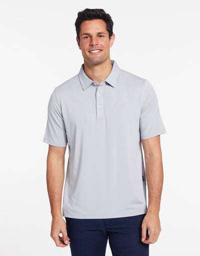 Solbari Sun Protection Men's UPF50+ Active Short Sleeve Polo in Light Grey