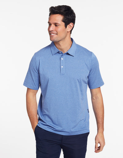 Solbari Sun Protection Men's UPF50+ Active Short Sleeve Polo in Ocean Blue