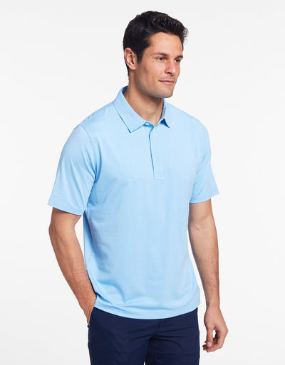 Solbari Sun Protection Men's UPF50+ Active Short Sleeve Polo in Sky Blue