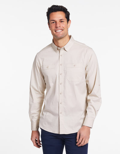 Solbari Sun Protection Men's UPF50+ Outback Shirt in Beige Technicool Collection