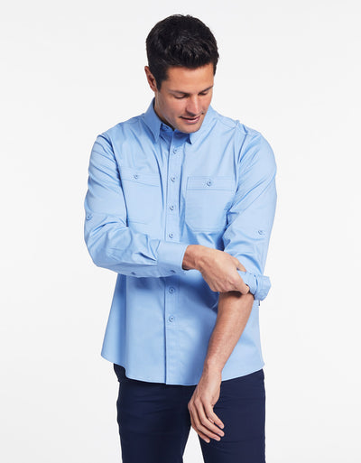 Solbari Sun Protection Men's UPF50+ Outback Shirt in Blue Technicool Collection
