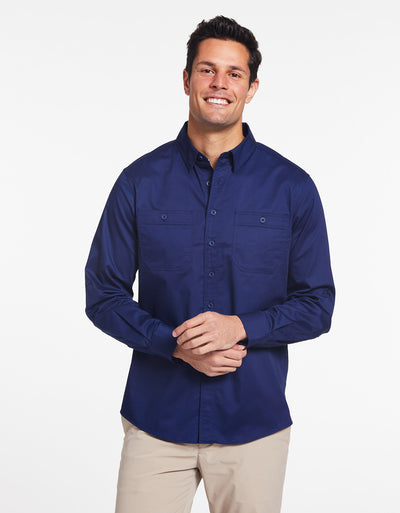 Solbari Sun Protection Men's UPF50+ Outback Shirt in Navy Technicool Collection