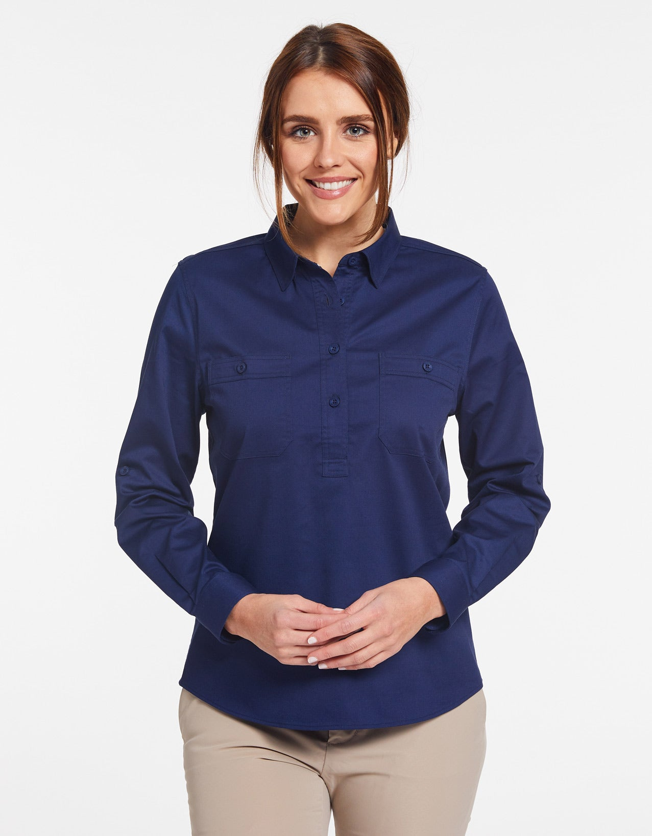 Solbari Sun Protection UPF50+ Women's Outback Half Placket Shirt Technicool Collection in Navy