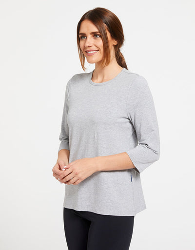 Solbari Sun Protection Women's UPF50+ 3/4 Sleeve T-shirt in Light Grey Marle
