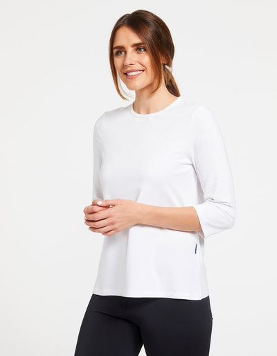 Solbari Sun Protection Women's UPF50+ 3/4 Sleeve T-shirt in White