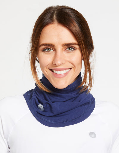 Solbari Sun Protection UPF50+ Curved Face & Neck Gaiter in Navy Sensitive Collection