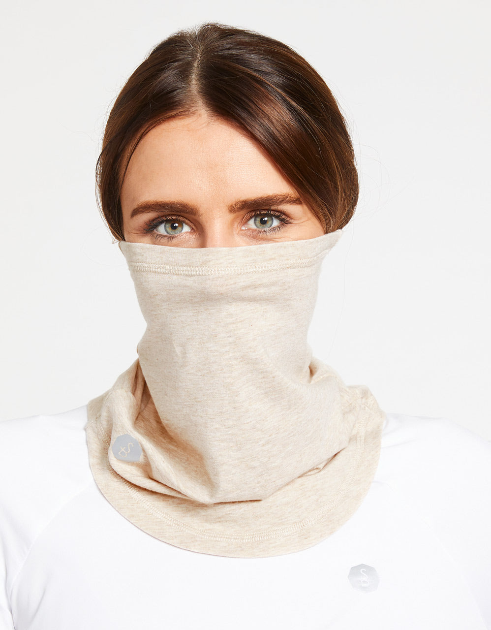 Solbari Sun Protection UPF50+ Curved Face & Neck Gaiter in Oatmeal Sensitive Collection