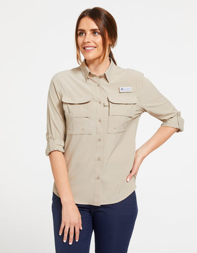 Solbari Sun Protection Women's UPF50+ Fishing & Hiking Shirt in Beige