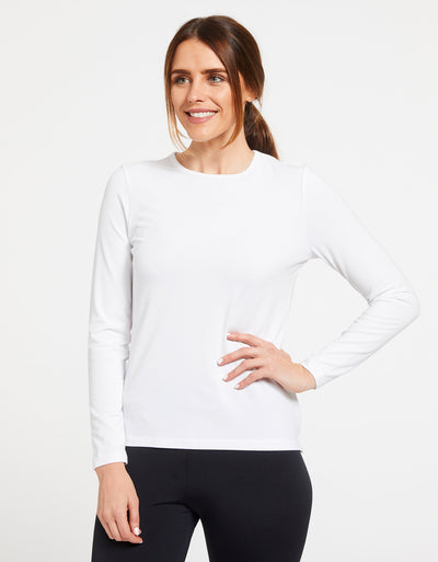 Solbari Sun Protection UPF50+ Women's Long Sleeve T-Shirt Sensitive Collection in White