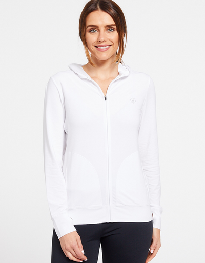 Solbari Sun Protection UPF50+ Women's Luxe Hooded Full Zip Top Sensitive Collection in White