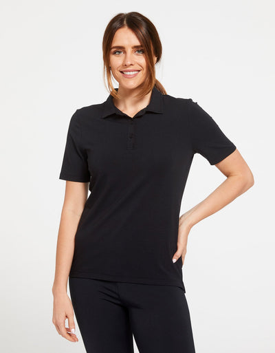 Solbari Sun Protection Women's UPF50+ Short Sleeve Polo Shirt in Black Sensitive Collection