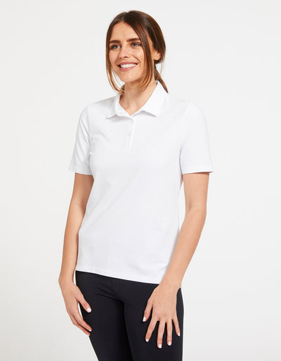 Solbari Sun Protection Women's UPF50+ Short Sleeve Polo Shirt in White Sensitive Collection