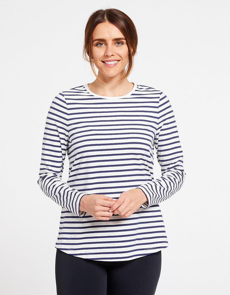 Stripe Long Sleeve Swing Top UPF 50+ Cotton Comfort Collection