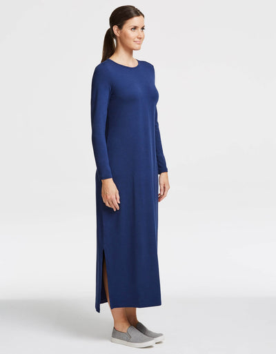 Solbari UPF 50+ Sun Protection Navy Long Sleeve Maxi Dress for Women