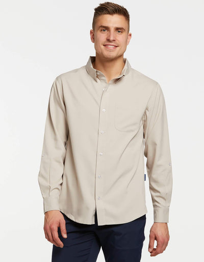 Solbari UPF 50+ Sun Protective Beige Explorer Shirt Dry Lite for Men