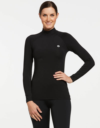 Solbari UPF 50+ Sun Protective Black Turtleneck Base Layer for Women
