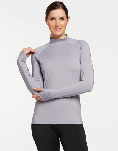 Solbari UPF 50+ Sun Protective Silver Turtleneck Base Layer for Women 1