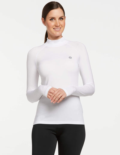 Solbari UPF 50+ Sun Protective White Turtleneck Base Layer for Women 1