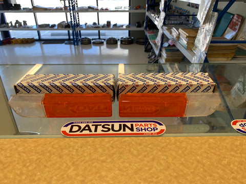 Datsun 1200 120Y Front Combo Light Lens Pair Genuine New Old Stock