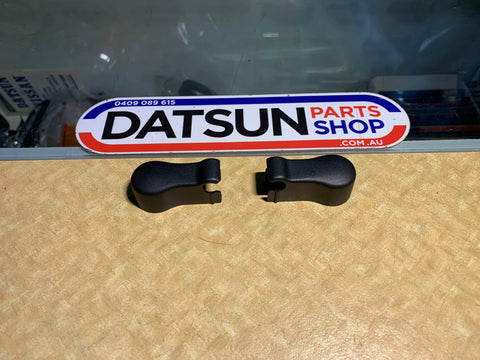 Datsun Stanza PA10 wiper nut covers pair Black Genuine