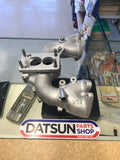 Datsun L Series Weber adaptor on standard Manifold