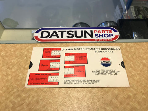 Datsun Metric Conversion Slide Chart Used