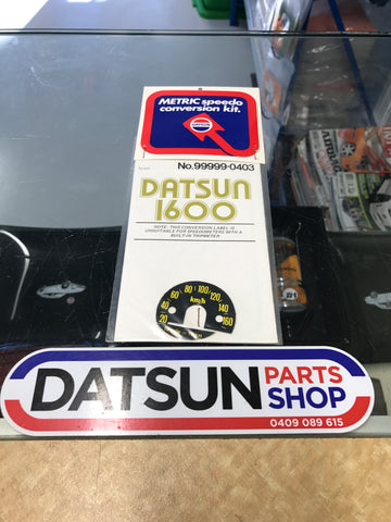 Datsun 1600 Speedo Metric conversion decal
