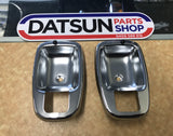 Datsun 1200 Inner handle Chrome trim New Genuine  pair