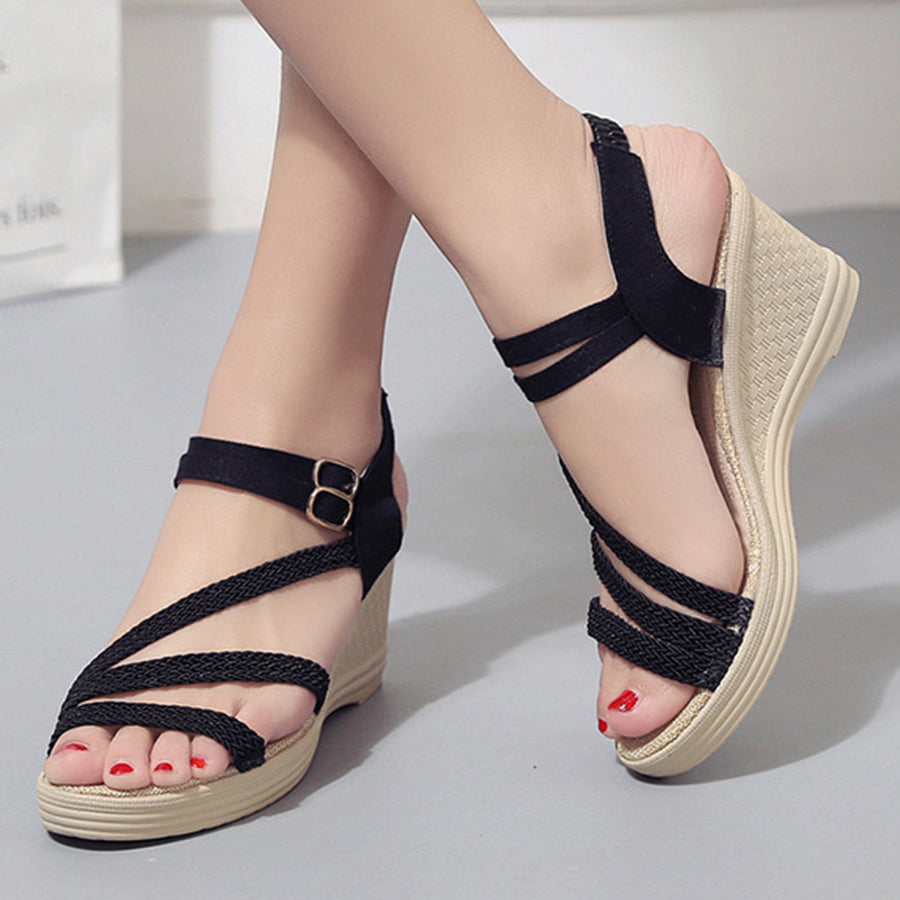 ce3274749011 ... Plain High Heeled Ankle Strap Peep Toe Casual Date Wedge Sandals ...