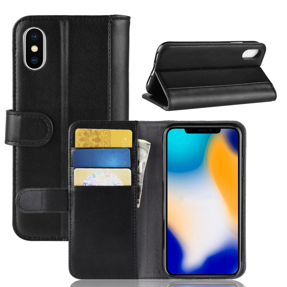 Real Genuine Flip Wallet Leather Case for iPhone XS Max