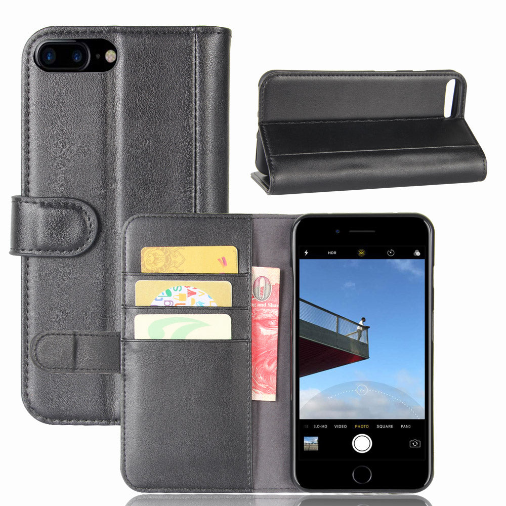 Real Genuine Flip Wallet Leather Case for iPhone 8Plus 7Plus