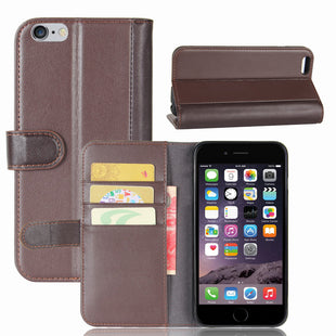 Real Genuine Flip Wallet Leather Case for iPhone 6S Plus 6Plus