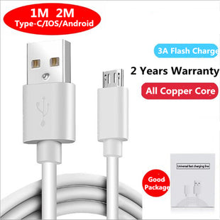 Micro/IOS/Type-C USB Cable 3A Fast Charging Wire For Android Apple Mobile Phone Data Sync Charger Cable 1M 2M