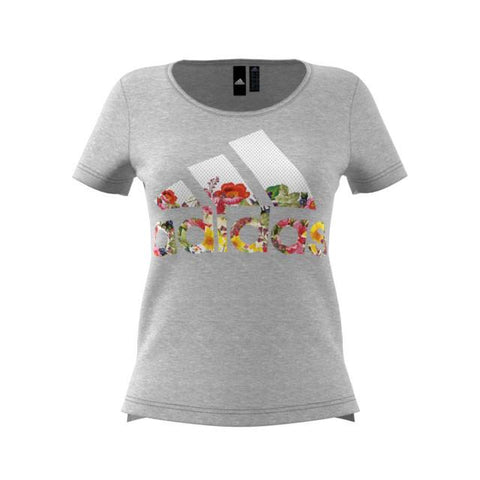 a79b270f944 Adidas Women s Not Sports Specific Badge Of Sport Flower T-Shirts Grey  DV2996
