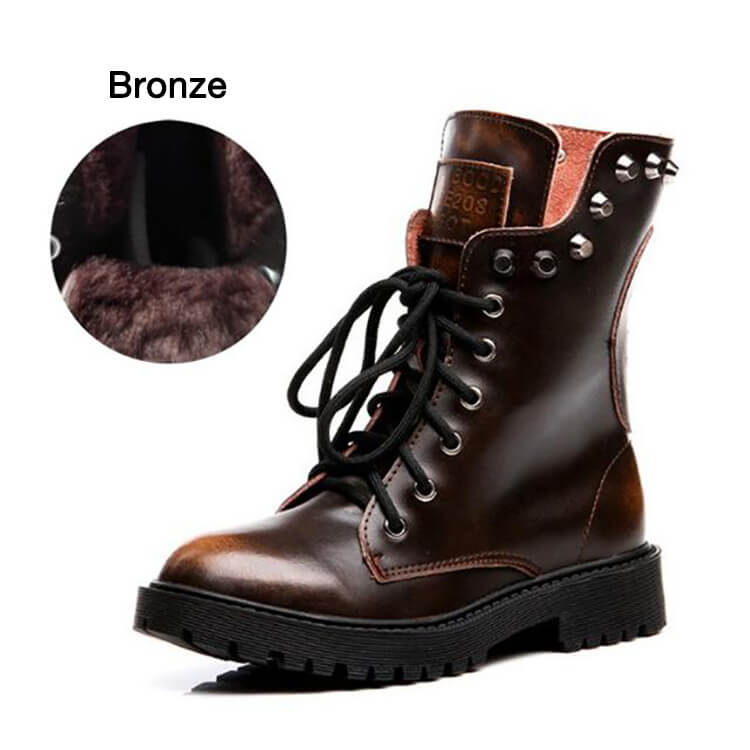 Fashion Brushed Leather Martin Boots Rivet Boots-10