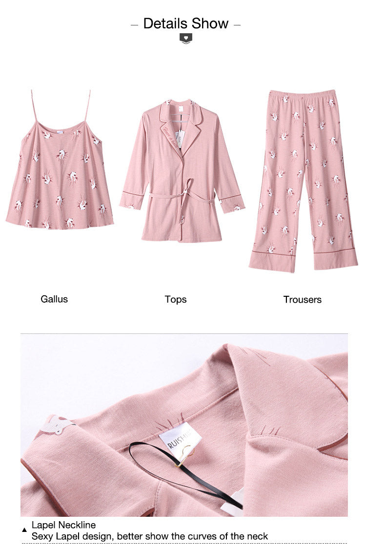 Pure Cotton Three-piece Long Sleeves Pajamas Set -14