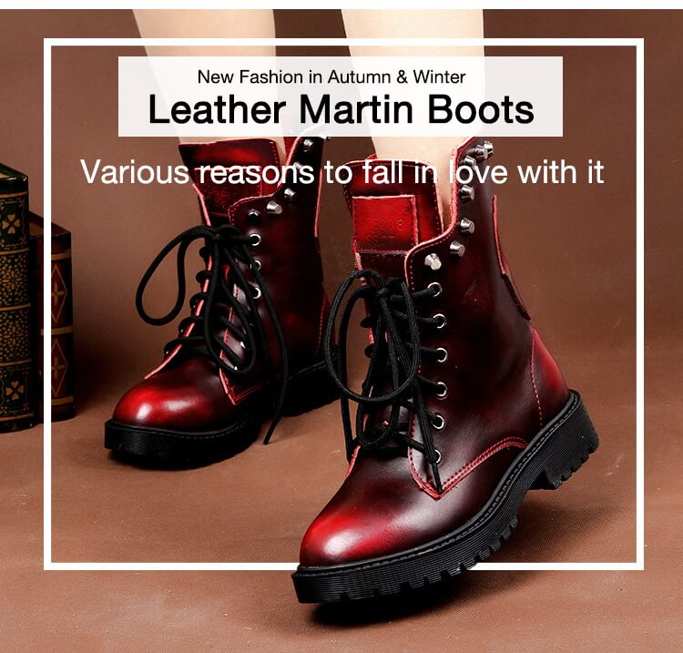 Fashion Brushed Leather Martin Boots Rivet Boots-2
